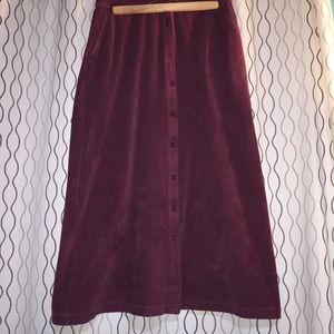 Lands' end corduroyed maroon skirt